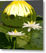 Yellow Glass With White Lilies Metal Print