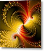 Yellow Gold Red Decorative Abstract Art Metal Print