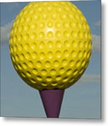 Yellow Golf Ball Metal Print
