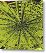 Yellow Green Black Abstract Metal Print