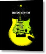 Yellow Guitar Full Time Occupation Metal Print
