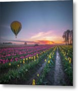 Yellow Hot Air Balloon Over Tulip Field In The Morning Tranquili Metal Print