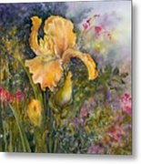 Yellow Iris With Bleeding Hearts Metal Print