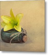Yellow Lily And Green Bottle Metal Print