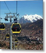 Yellow Line Cable Cars And Mt Illimani La Paz Bolivia Metal Print