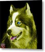 Yellow Modern Siberian Husky Dog Art - 6024 - Bb Metal Print
