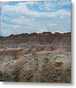 Yellow Mounds Panorama At Badlands South Dakota Metal Print