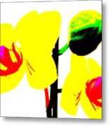Yellow Orchids Abstract Metal Print