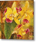 Yellow Orchids Acrylic Metal Print
