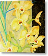 Yellow Orchids With Black Screen Metal Print