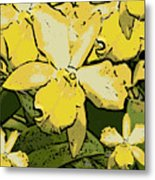 Yellow Orchids Woodcut Metal Print