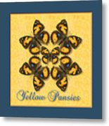 Yellow Pansy Butterfly Wheel Metal Print