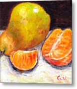 Yellow Pear With Tangerine Slices Grace Venditti Montreal Art Metal Print