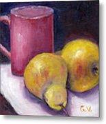 Yellow Pears And Mug Stll Life Grace Venditti  Metal Print