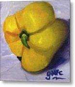 Yellow Pepper On Linen Metal Print