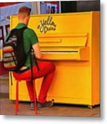 Yellow Piano Metal Print