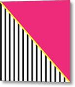 Yellow Pink And Black Geometric 2 Metal Print