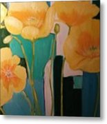 Yellow Poppies On Blue Metal Print