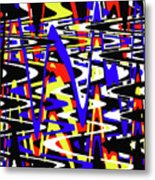 Yellow Red Blue Black And White Abstract Metal Print
