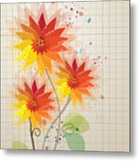 Yellow Red Floral Illustration Metal Print