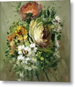 Yellow Rose And White Blossoms Metal Print