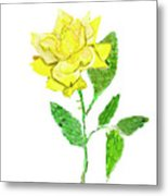 Yellow Rose, Painting Metal Print