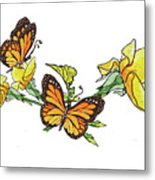 Yellow Roses And Monarch Butterflies Metal Print