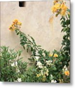 Yellow Roses And Tiny Window At Carmel Mission Metal Print