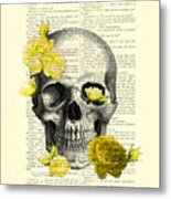 Skull With Yellow Roses Dictionary Art Print Metal Print