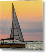Yellow Sailboat At Sunrise Metal Print