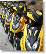 Yellow Scooters Metal Print