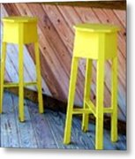 Yellow Stools Metal Print