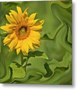 Yellow Sunflower On Green Background Metal Print