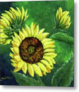 Yellow Sunflowers On Green Metal Print