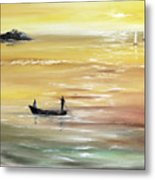 Yellow Sunset Metal Print