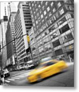 Yellow Taxi Nyc Metal Print
