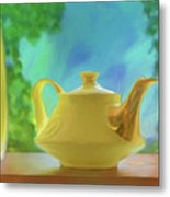 Yellow Teapot And Bowl Metal Print