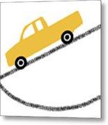 Yellow Truck On Road- Art By Linda Woods Metal Print
