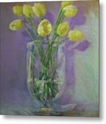 Yellow Tulips In A Glass Metal Print