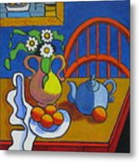 Yellow Vase With Blue Teapot Metal Print