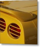 Yellow Vette Lights Metal Print