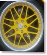 Yellow Vette Wheel Metal Print