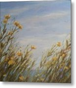 Yellow Wildflowers In The Sea Breeze Metal Print