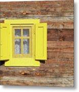 Yellow Window On Wooden Hut Wall Metal Print