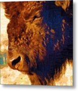 Yellowstone Buffalo Metal Print