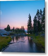 Yellowstone National Park Sunset And Moon Metal Print