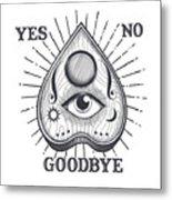 Yes No Goodbye Magic Ouija Vintage Planchette Design Metal Print