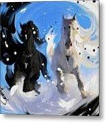 Yin Yang Horse Metal Print