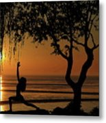 Yoga By The Bay At Sunset Metal Print