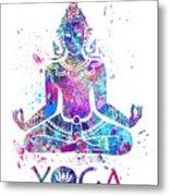 Yoga Meditation Watercolor Print Metal Print